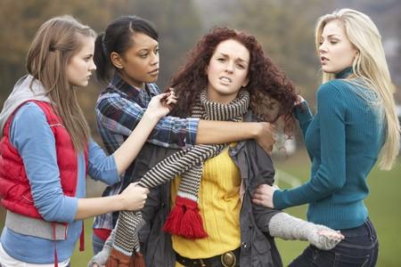 Group Of Female Teenagers Bullying Girl photo