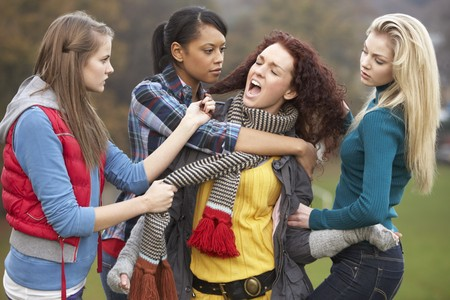 Group Of Female Teenagers Bullying Girl photo