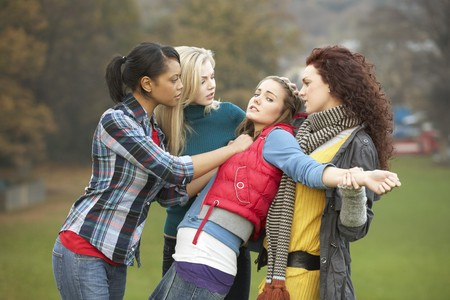 Group Of Female Teenagers Bullying Girl Stock Photo - 7178002