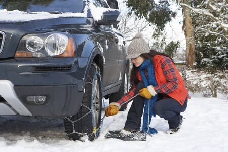 Woman Putting Snow Chains Onto Tyre Of Car Stock Photo - 7177863