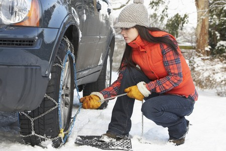 Woman Putting Snow Chains Onto Tyre Of Car Stock Photo - 7178140