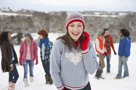 Group Of Young Friends Having Fun In Snowy Landscape Stock Photo - 7178625