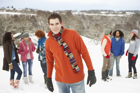 Group Of Young Friends Having Fun In Snowy Landscape Stock Photo - 7177386