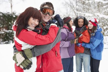 Group Of Teenage Friends Having Fun In Snowy Landscape Wearing Ski Clothing Stock Photo - 7178413