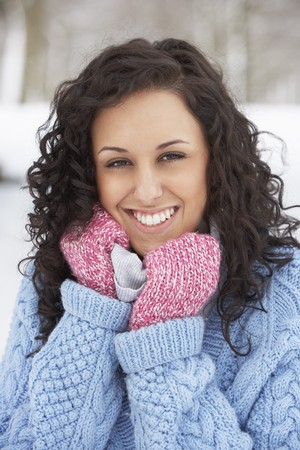Woman In Snowy Landscape Wearing Warm Clothing Stock Photo - 7177746