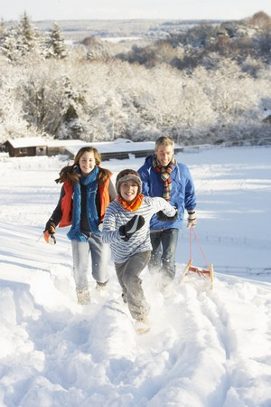 Father And Children Pulling Sledge Up Snowy Hill photo