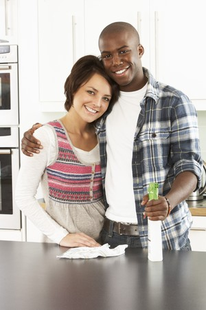 Young Couple Cleaning Cleaning Modern Kitchen Stock Photo - 8452701