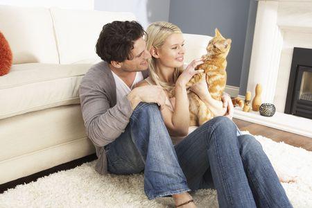 gato jugando: Pareja tomando jugando con el gato de mascota en el hogar Foto de archivo