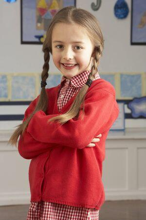 schooler: Ritratto di donna pupilla di scuola permanente in classe