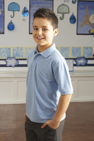7 year old boys: Portrait Of Male Primary School Pupil Standing In Classroom