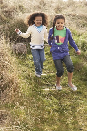 Young Girls Playing In Field Together Stock Photo - 10199322