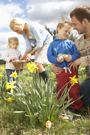 Famille Sur Easter Egg Hunt Dans la jonquille sur le terrain Banque d'images