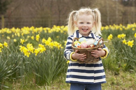 egg hunt: Young Girl Holding Basket Of Decorated Eggs In Daffodil Field Stock Photo