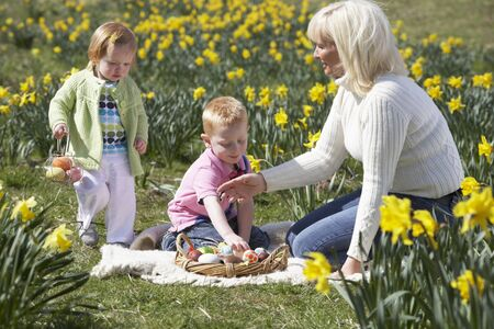 easter egg hunt: Mother And Children In Daffodil Field With Decorated Easter Eggs Stock Photo