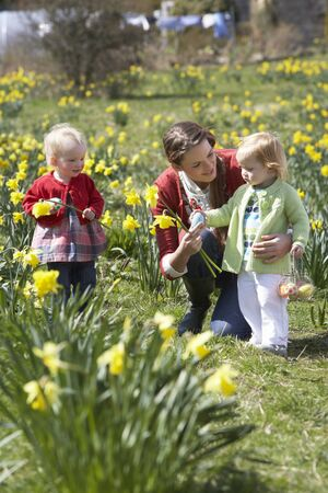 egg hunt: Mother And Children In Daffodil Field With Decorated Easter Eggs Stock Photo