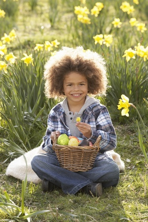 Boy On Easter Egg Hunt In Daffodil Field Stock Photo - 10199217