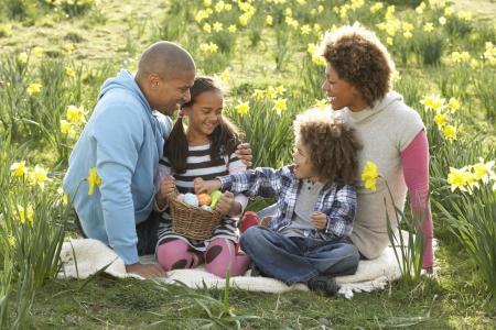 Famille relaxant dans le champ de jonquilles printemps Banque d'images