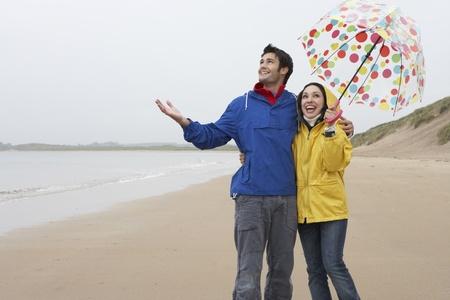 Happy couple on beach photo