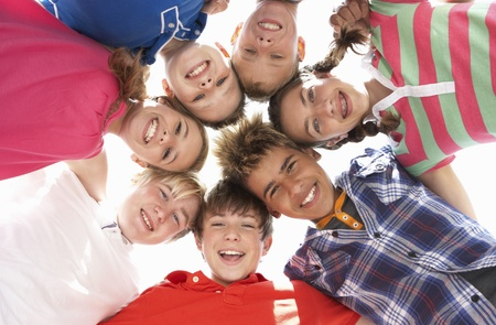 group of teens: Teenagers in circle