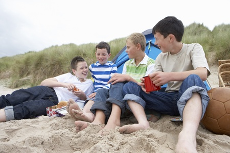Teenagers having picnic photo