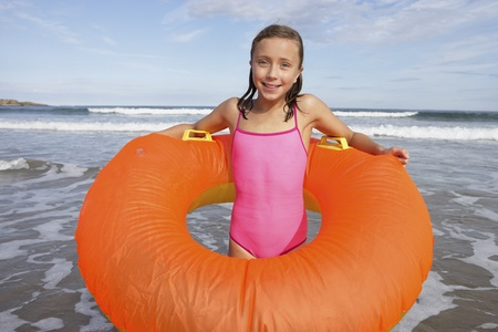 flotating: Girl with rubber ring