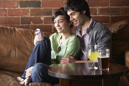 Couple in love in Cafe photo
