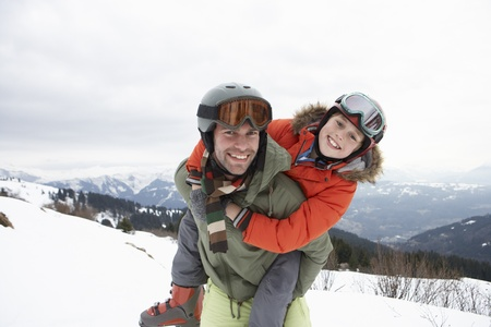 Young Father And Son On Winter Vacation photo