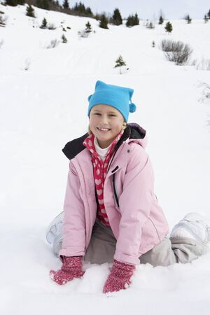 7 year old girl: 7 Year Old Girl On Winter Vacation Stock Photo