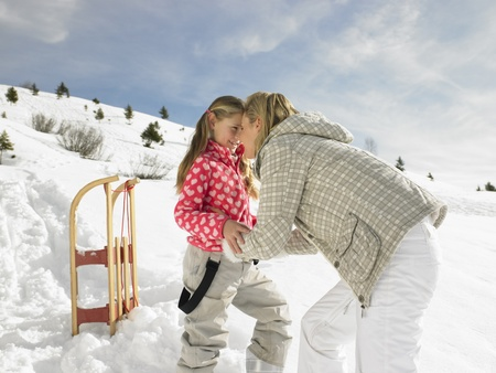 Young Mother And Daughter On Winter Vacation photo