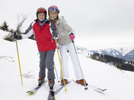 boy 12 year old: Young Mother And Son On Ski Vacation