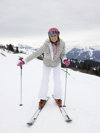 Young Woman On Skis photo
