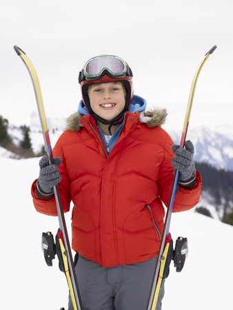 Pre-teen Boy On Ski Vacation Stock Photo