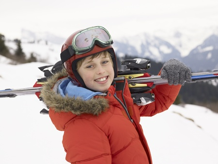 boy 12 year old: Pre-teen Boy On Ski Vacation Stock Photo