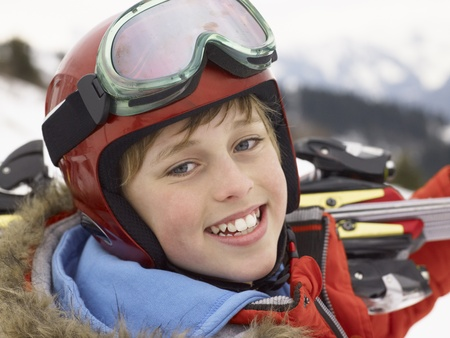 Pre-teen Boy On Ski Vacation photo
