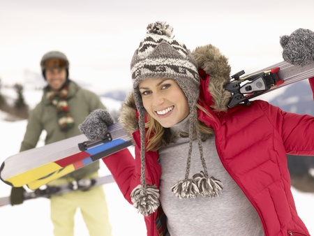 winter sports: Young Couple On Ski Vacation