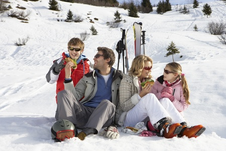 Young Family Sharing A Picnic On Ski Vacation photo
