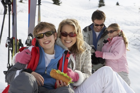 boy 12 year old: Young Family On Ski Vacation