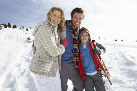 boy 12 year old: Young Family On Winter Vacation