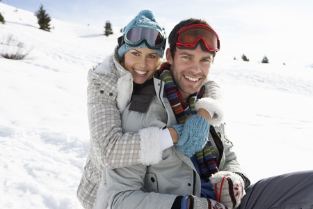 loving couples: Young Couple On Winter Vacation