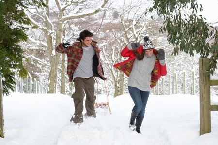 sledging people: Young couple having snowball fight