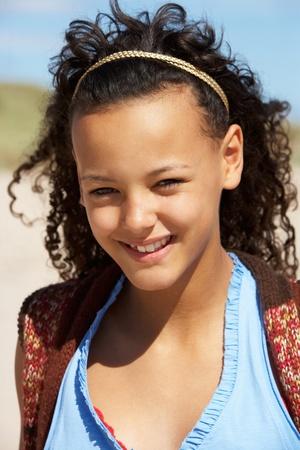 hair band: Portrait teenage girl outdoors Stock Photo