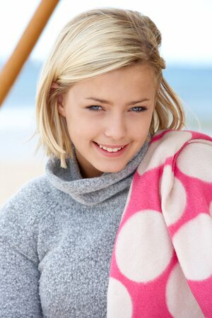 pretty blonde girl: Portrait teenage girl outdoors Stock Photo