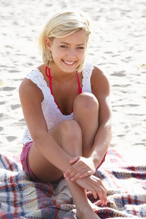 Portrait teenage girl on beach Stock Photo - 11246647