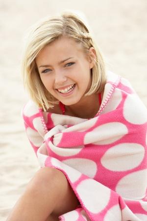 Portrait teenage girl on beach Stock Photo - 11246564
