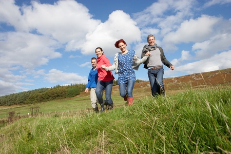 couples outdoors: Adult group in countryside