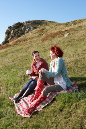 wellies: Women on country picnic