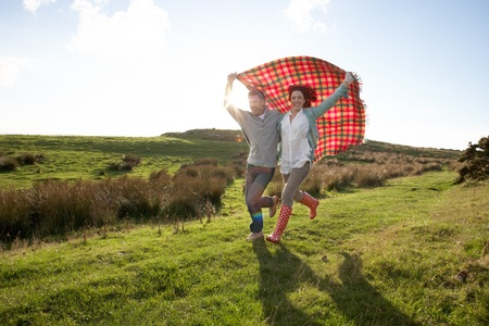 picnic blanket: Couple in countryside