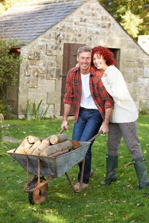 sheds: Couple working in country garden
