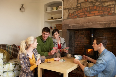 Young couples in cosy cottage photo