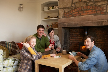 Young couples in cosy cottage